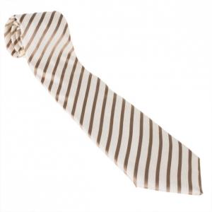 Fendi Cream Striped Silk Tie
