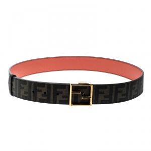 Fendi Brown/Orange Zucca Canvas and Leather Reversible Belt 110cm