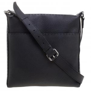 Fendi Black Selleria Leather Messenger Bag