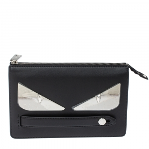 Fendi Black Leather and Metal Bag Bugs Eyes Clutch