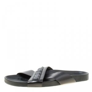 Fendi Black Leather Cross Strap Slipper Sandals Size 43