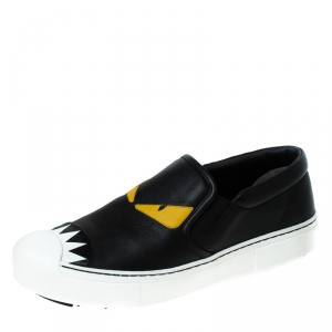Fendi Black Leather Monster Slip On Sneakers Size 40