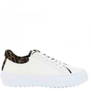 Fendi White FF-trim leather Force Sneakers Size UK 6 (EU 40)