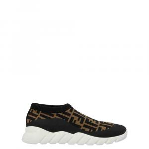 Fendi Black/Brown Zucca Print Knit Slip On Sneakers Size EU 44 (UK 10)