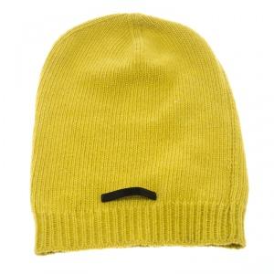Fendi Yellow Wool Blend Knit Rib Trim Beanie