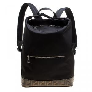 Fendi Black Nylon Zaino Santander Backpack