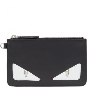 Fendi Black Leather Bag Bugs Eyes Slim Pouch
