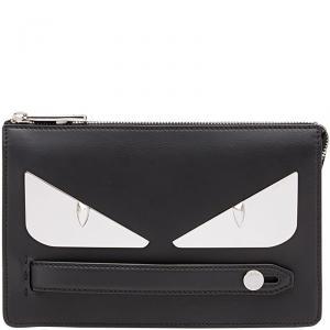 Fendi Black Leather Bag Bugs Eyes Clutch