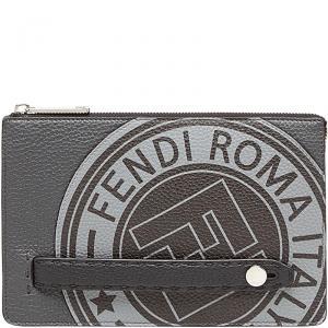 Fendi Grey Romano Leather Clutch