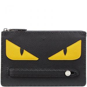 Fendi Black Roman Leather Bag Bugs Eyes Inlay Clutch