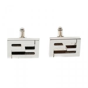 Fendi FF Silver Tone Rectangular Cufflinks