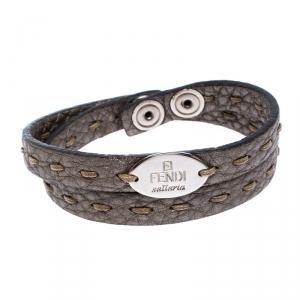Fendi Selleria Metallic Leather Silver Tone Double Wrap Bracelet