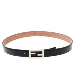 Fendi Black Leather FF Buckle Belt 100CM