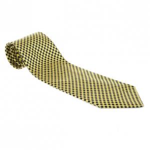 Fendi Yellow Printed Woven Silk Tie