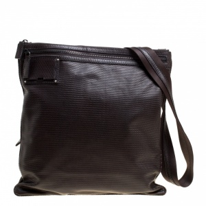 Fendi Dark Brown Woven Embossed Leather Flat Messenger Bag