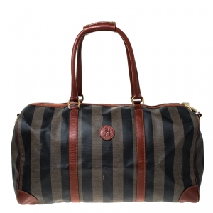 Fendi Brown/Black Pequin Stripe Coated Canvas and Leather Boston Duffle Bag