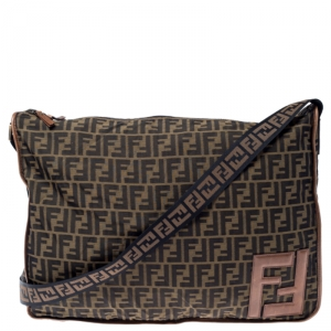 Fendi Brown Zucca Canvas Zip Messenger Bag