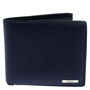 Fendi Navy Blue Leather Bifold Wallet