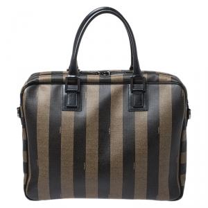 Fendi Khaki/Black Pequin Stripe Coated Canvas Briefcase