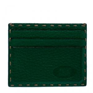 Fendi Green Selleria Leather Card Holder