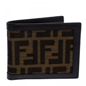 Fendi Tobacco Zucca Canvas and Leather Bifold Wallet