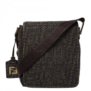 Fendi Tobacco Zucca  Woven Coated Canvas Messenger Bag