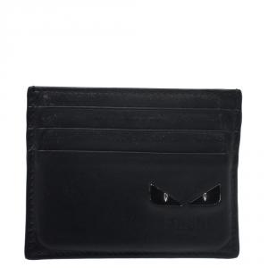 Fendi Black Leather Monster Card Holder