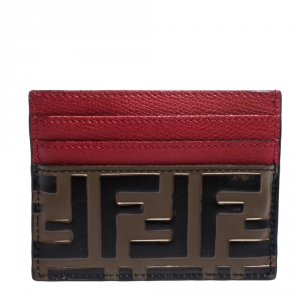 Fendi Red/Brown Zucca Print Leather Card Holder