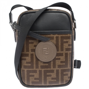 Fendi Brown/Black Coated Canvas and Leather Small FF Crossbody Bag