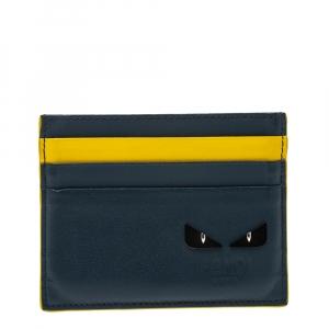 Fendi Blue/Yellow Leather Monster Eye Card Holder
