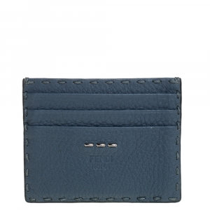 Fendi Dark Teal Selleria Leather Card Holder