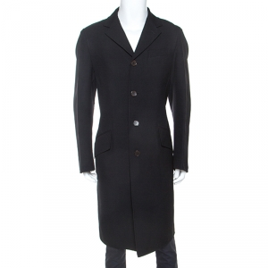 Fendi Black Wool Twill Long Coat XL