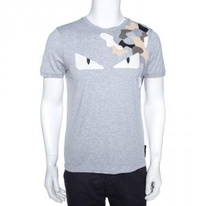 Fendi Grey Cotton Bag Bugs Leather Applique Detail T-Shirt M