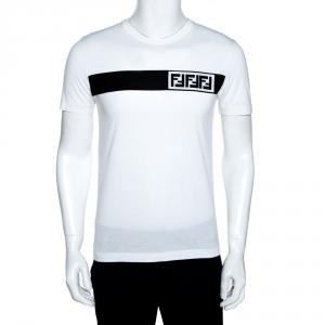 Fendi White Cotton FF Logo Block Appliqued T-Shirt M
