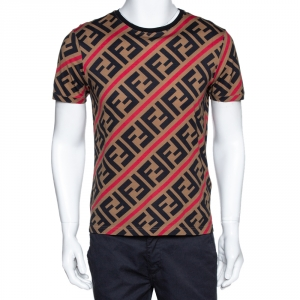 Fendi Brown Diagonal Zucca Monogram Crew Neck T Shirt M