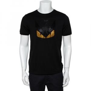 Fendi Black Cotton Bag Bugs Crystal Embellished T-Shirt M