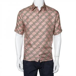 Fendi Pale Pink Logo Printed Silk Satin Short Sleeve Shirt M