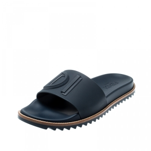 Fendi Blue TPU Fussbett Flat Slides Size 42