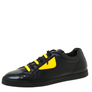 Fendi Black/Yellow Leather Monster Low Top Sneakers Size 44