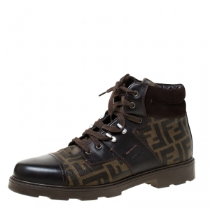 Fendi Brown Zucca Coated Canvas and Leather Mario Hiking Boots Size 43