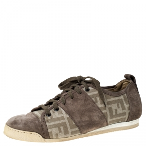 Fendi Beige Monogram Canvas And Suede Cap Toe Sneakers Size 42