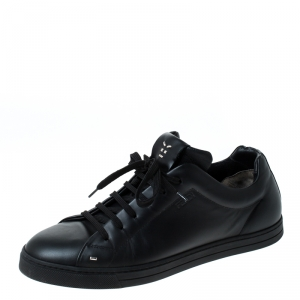 Fendi Black Leather Men's Face Low Top Sneakers Size 40.5