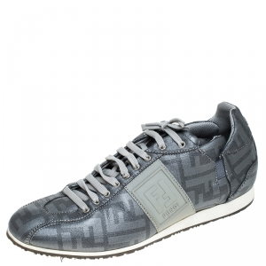 Fendi Silver Canvas Zucca Sneakers Size 40