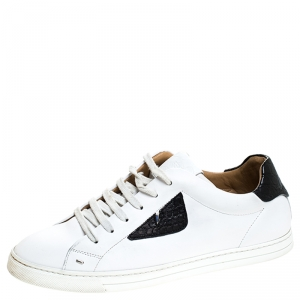 Fendi White Leather Bag Bugs Low Top Sneakers Size 41
