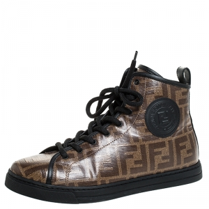 Fendi Brown Zucca Coated Canvas Lace Up High Top Sneakers Size 38