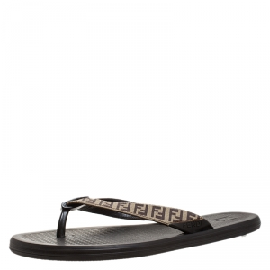 Fendi Brown Zucca Coated Canvas Flat Flip Flop Size 44