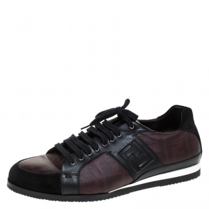 Fendi Black/Burgundy Zucca Coated Canvas and Leather Lace Low Top Sneakers Size 44