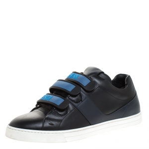 Fendi Black Leather Velcro Strap Sneakers Size 41