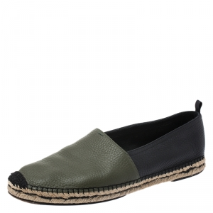 Fendi Green/Black Leather Espadrille Loafers Size 43