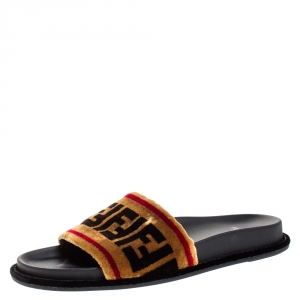 Fendi Brown Zucca Velvet Flat Slides Sandals Size 39